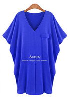 Wholesale 2013 Hot cotton V neck single pocket loose bat sleeve lady dress casual dress colors Size XL XXL XXXL