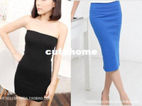 Wholesale n455 With two nightclubs a wild high elastic tight fitting long Tee Dress chest wrapped skirt bottoming skirt package hip skirt
