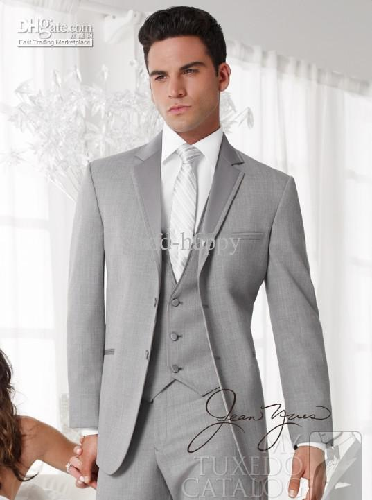 Wholesale --Handsome Light Grey Slim Fit Groom Tuxedos Men's Prom ...