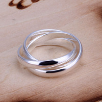 Wholesale Lose Money Ring Best Selling R167 Sterling Silver Triple Cirlce Ring Silver Plated Ring Jewelry Full Size On Sale Woman Man