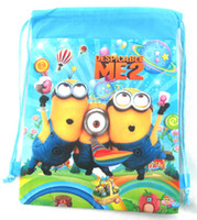 Wholesale Hot Sale Cartoon New Design Despicable Me Drawstring Backpack Cute bag Fashion Gift