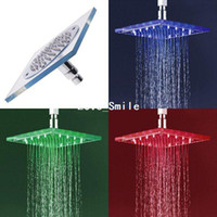 Wholesale Square Color LED Shower Head Automatic Control Sprinkler light faucet