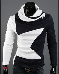 Wholesale New Hot Sale Korean men s Sweaters Fashion slim High collar pentagram Velvet long sleeved sweater