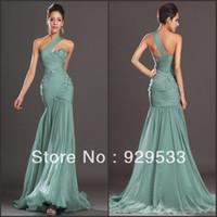 Reference Images Chiffon Sleeveless Best Selling Aqua One Shoulder Flowers Embellishment Elegant Evening Dress Chiffon Prom Dress Bodycon Dress_Online Sale