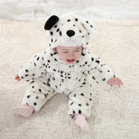 Unisex Spring / Autumn  Wholesale - Winter Baby Romper Quilted Jacket Thicken Warm White Snow Leopard Modelling Toddler Jumpsuits Coat Newborn Infatn Rompers 4Pcs l