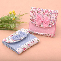 Fabric Bedding Storage Bags Free Shipping Sweet Lace bow Flower Sanitary Towel Napkin Bag Purse Girls napkin storage bag