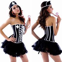 Wholesale New Arrival Sexy Halloween Costume Women s Nurses Adult Costumes Pieces Suit Nurse Cosplay For Party NA0801
