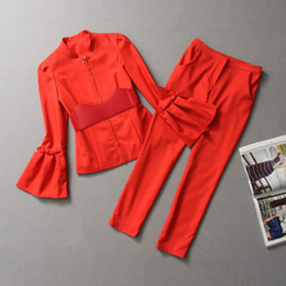 Wholesale Charm Flare Sleeve Red Suit Cotton Slim Zipper With Belt Shrug Solid Color Individuality Autumn Suits Q0131