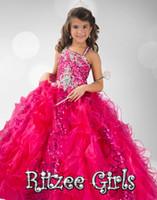Halter Beads Tulle Cheap Lovely Little Girl's Dresses Halter Amazing Ball Gown Ritzee Flowers Girls Gown Beads Pageant Dresses For Girls6347