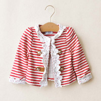 Wholesale Child Cute Stripe Casual Jacket Fashion Lace Princess Coat Kids Jacket Long Sleeve Tops Coats Girls Jackets Children Outwear Girl Clothes