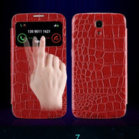 Leather For Samsung For Christmas Croco crocodile Skin Flip Leather S View Open touch Window Cover Case For Samsung Galaxy Mega 6.3 i9200 Luxury Christmas GIft