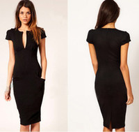 2013 Classic Black Vintage Elegant Deep V- Neck Pocket Zipper...