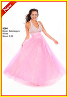Tulle Sleeveless Floor-Length Fashion Lovely Pink Halter A line Beads Crystal Tulle Backless Long Colorful WOW Prom Evening Dresses Formal Party Pageant Dress Gowns 5066