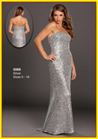 Sequined Sleeveless Floor-Length Free Shipping Strapless Sheath Beads Backless Sequins Fabric Long Colorful WOW Prom Evening Dresses Formal Party Pageant Dress Gowns 5069