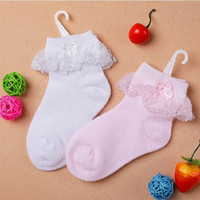 Wholesale Cute lace baby socks white pink short socks kids pretty princess socks brand high quality
