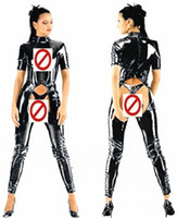Wholesale Women s Open crotch Sexy Costumes Catsuit Faux Leather Clubwear Fetish Erotic Sex Cosplay Clothes for Her