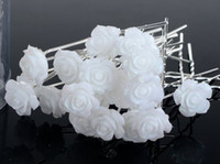 Wholesale 100pcs White Acrylic Hair Pin Pins for Bridal Wedding Jewelry Hair Clip Jewellery Flower Hair Accessories JH03002