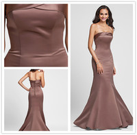 Wholesale Stunning Elegant Satin Lace up Wrap Strapless Mermaid Trumpet Simple Floor Lengtht Prom Evening Dress Ball Gown