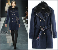 Wholesale women double breast coat fur collar removable princess trenchcoat designer with belt