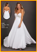 Chiffon Sleeveless Ankle-Length Best Selling White Strapless A line Beads Colorful Sexy Floor length WOW Prom Evening Dresses Formal Party Pageant Dress Gowns 5132