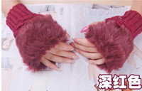 Wholesale 2013 Fashion hot selling rabbit fur gloves lady s winter fingerless gloves hand wrist half fingers gloves sets