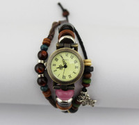 Wholesale Hot Cow Leather Watches High Quality ROMA Watch Vintage Wood Beads Butterfly Charm Bracelet Watches W007