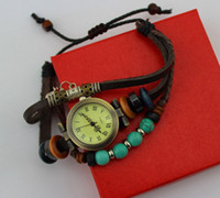 Wholesale Leather Watches High Quality ROMA Watch Vintage Turquoise Wood Beads Bell Charm Adjustable Bracelet Watches W008