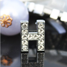 50pcs lot 10mm H Full Rhinestones Bling Slide Letter DIY Alloy Accessories Fit For 10MM wristband bracelet keychains