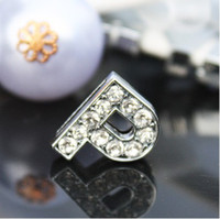 Wholesale 50pcs mm P rhinestone slide letter alphabet DIY accessories