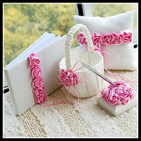 Wholesale Wedding favors Wedding Collection Set Pink Rose Wedding Guest book Pen Ring Pillow Flower Basket new arrival hot selling
