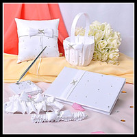 Wholesale Wedding favors Wedding Collection Set Wedding Guest book Pen Ring Pillow Flower Basket and Garter new arrival hot selling