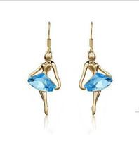 Wholesale Sweet jewelry Ballet girl Dancer Angel Crystal earrings Dangle Chandelier