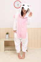 Wholesale new style the pink unicorn flannel and fleece onesie pajamas unisex sleepwear