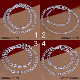 New 925 Sterling Men's Figaro Chain Jewelry 6mm 20inch----8mm 20inch 925 Silver Chain Necklace Jewelry Mix Style Free