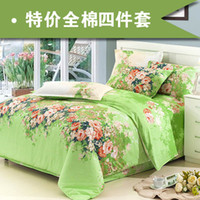 100% Cotton Home Adult New Fashion 100% Cotton Four set Quilt Sheet Pillow Case Printing Flower Style Semi-active printing and dyeing