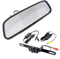 "Cheap 4.3"" Car TFT LCD Monitor Mirror+Wireless Reverse Car Rear View Backup Camera Kit"