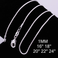 Wholesale New Style Silver mm Smooth Snake Chain Necklace inch Mixed Size