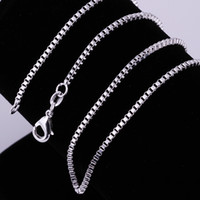 Wholesale Mix Size Sterling Silver mm Box Chain Necklace inch inch