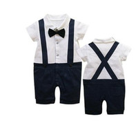 Girl Spring / Autumn Baby Baby Romper, Gentleman Design,Bow Tie, infant Short sleeve climb clothes,Summer kids clothes,Suspenders ,FreeShipping, TYP018