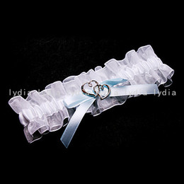 Wholesale White Wedding Stuff Supplies Bridal Sexy Garter for Wedding with Light Blue Bow amp Double Heart Decoration Retail