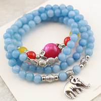 Bohemian Women's Party Natural sea blue crystal rosary beads bracelet new Thai elephant kiss fish jade bracelet jewelry