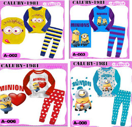 Wholesale new pajamas Childrensuit Despicable Me Minion underwear baby colothes sets outfit suit Pajamas homewear WHP832G