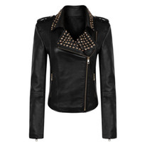 Wholesale THOOO Brand Luxurious Women Leather Jacket Gold Rivet Hand Made Womens Locomotive Jacket Leather Black Retail Drop Ship