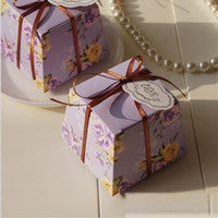 Wholesale Flower printing candy gift boxes brand design weddng favor holder paper wedding party decoration in colors