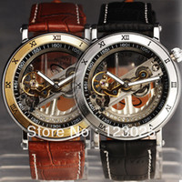 Wholesale New hot Cool Double Skeleton Analog Leather Band Automatic Mechanical Men Wrist Watch Clock Hours