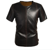 Men leather shirt - New Italy Style PU Leather T Shirts PU Imitate Crozzling Designer Mens Shirts THOOO Trade Cool Mens Jacket Black Brown Factory Drop Shipmet