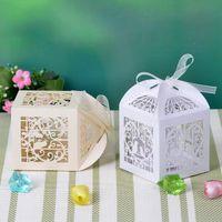 Wholesale Floral Theme Laser Cut Favor Box With Bowknot wedding fashion favor box