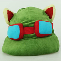 Wholesale Green cap hat of League of Legends cosplay cap Hat of teemo acting cute cap Cartoon plush hats plush toys Hats LOL Game Teemo