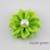 Wholesale satin layered flower with pearl for hair accessoris Baby Girls children apparel accessories mix color