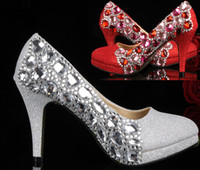 Women Pumps Stiletto Heel Unique Silver Red Crystal High-heeled Shoes Wedding Bride Party Prom Pageant Shoes Bridesmaid Women's Dress shoes
